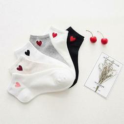1 Pair New Kawaii Cute Socks Women Red Heart Pattern Soft Br