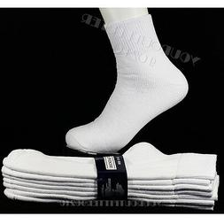 10-13 4 Pairs Athletic Heavy Weight Ankle White Cotton Socks