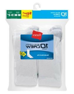 10-Pack Hanes Boys Crew EZ Sort Socks White or Black Size M