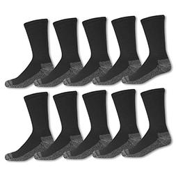 10 Pack Mens Cotton Work Gear Crew Socks Cushioned Wicking D