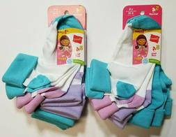 HANES 10 PAIR! Girls Turn Cuff Socks blue pink purple shoe s