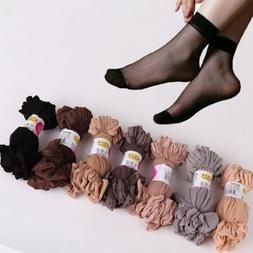 10 Pairs Women's Ankle Socks Sexy Ultra-thin Elastic Silky S