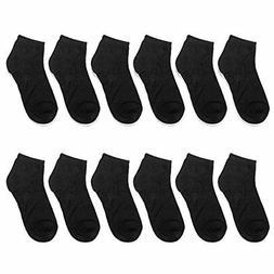 Falari 12 Pairs Boy Toddler Kids Cotton Socks 2-4 Years Blac