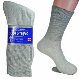 12 Pairs Grey New Diabetic Crew Socks Circulatory Health Cot