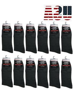12 Pairs Mens All Black Dress Socks Fashion Casual Cotton Si