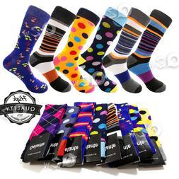 3-12 Pairs Mens Colorful Dress Socks Stripes Argyle Pattern