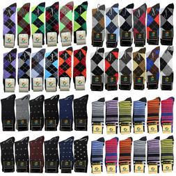 12 Pairs New Cotton Men Argyle Diamond Style Dress Socks Siz