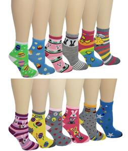Ayla 12 Pairs Pack Kids Girls Colorful Creative Fun Novelty
