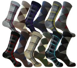 12 PK COTTON ARGYLE & PATTERN DRESS SOCKS SIZE 10-13 MENS FO