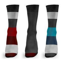 1SOCK2SOCK Mens Bamboo Socks 3 Pairs Casual Colors Striped C