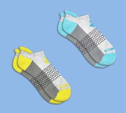 2 PACK Bombas Women's Ankle Socks Grey Ocean Blue + Grey Can