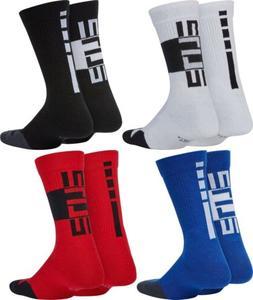 2 Pair Big Boys Youth Nike Elite Crew Socks Black White Blue