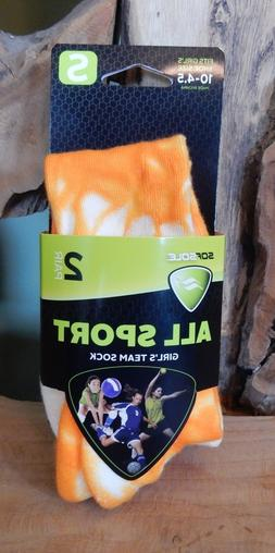 Sof Sole 2 Pair Girls Orange Neon Tie Dye All Sport Team Soc
