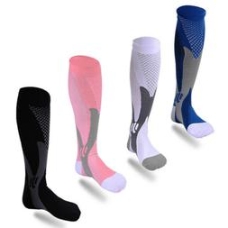 2 Pairs 20-30 mmhg Sports Knee High Compression Socks for Ru