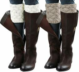 Loritta 2 Pairs Womens Boot Cuffs Winter Short Cable Knit Le