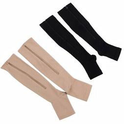 2 Pairs Zipper Medical Compression Socks Supports Leg Knee S