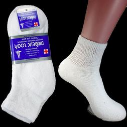 3-12 Pairs Diabetic Ankle Quarter Crew Socks Health Cotton M