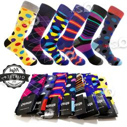 3-12 Pairs Mens Fun Funky and Colorful Patterned Dress Socks