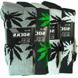 3-12 Pairs Mens Sports Leaf Weed Marijuana Athletic Crew Cot