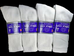 3-12 Pairs Mens White Diabetic Crew Socks Health All Size Lo