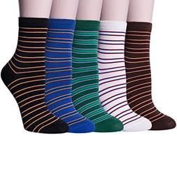 3-5 Pairs Womens Warm Thick Knited Casual Cotton Crew Socks,