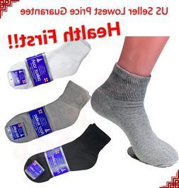 3,6,12 Pairs Diabetic ANKLE QUARTER Circulatory Socks Health