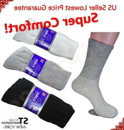 3,6,12 Pairs Diabetic Crew Circulatory Socks Health Mens Cot