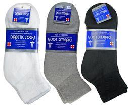 3-12 Pairs Mens Diabetic Ankle Quarter Socks Cotton Loose Fi
