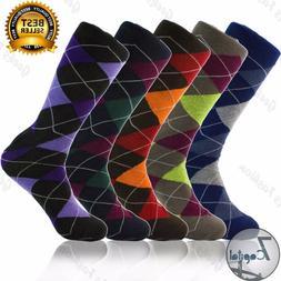 3 6 9 12 Pairs Mens Argyle Diamond Dress Socks Cotton Multi