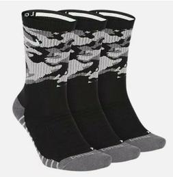 Nike 3 Pack Everyday Max Black Camo Crew Training Socks Dri
