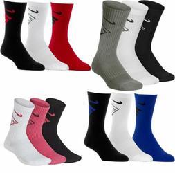 3 Pair Boys Girls Nike Kids Cotton Crew School Socks Black W