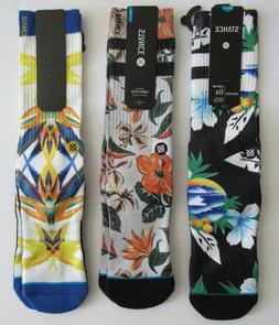 3 Pair Bundle Stance Crew Socks Colorful Floral Designs Mens