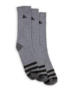 3 Pair Adidas Cushioned Crew Socks Gray, Black, Men's Shoe S