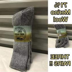 3 pair Men's Outdoor Life 71% Merino Wool Thermal Boot Socks