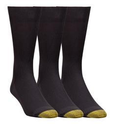 3 Pair Gold Toe Metropolitan Ultimate Nylon Dress Socks, Bla