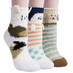 "3 Pair Women's ""Cozy Socks"" Fuzzy Winter Warm Fluffy Soft Ho"