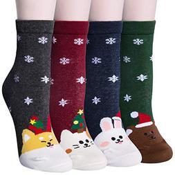 Loritta 3 Pairs / 4 Pairs Womens Christmas Cotton Socks Colo