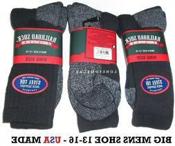 3 Pairs BIG MENS Railroad Sock Steel Toe Cushioned Cotton Cr