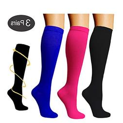3 Pairs Knee High Graduated Compression Socks For Women and