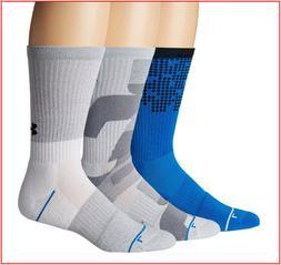 3 Pairs- Under Armour Phenom 4.0 CREW Socks - Wicks Large Bl