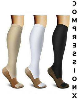 Copper Compression Support Socks 20-30mmHg Knee High Unise