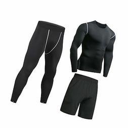 Niksa 3 Pcs Mens Fitness Gym Clothing Set,Sports Wear Exerci
