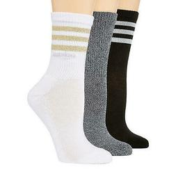 adidas 3 Pk Cushioned 3-Stripe Crew Socks  Women's 5-10