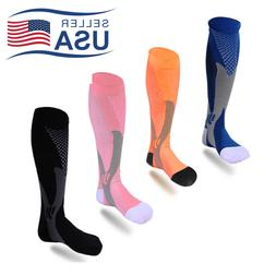2 Pair 30-40 mmhg Over Knee High Compression Socks Running S