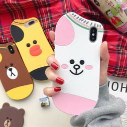 3D Socks Bear Silicone Shockproof Case Cover For iPhone XS M