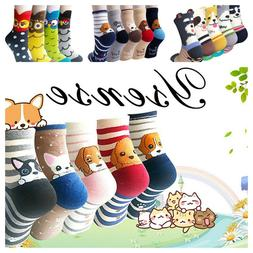 4-5 Pairs Womens Cute Animal Socks Casual Cotton Crew Funny