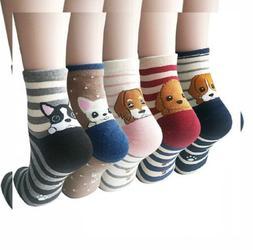 YSense 4-5 Pairs Womens Cute Funny Dog Socks Casual Cotton,