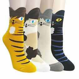 YSense 4-5 Pairs Womens Cute Funny Socks Casual Cotton Crew