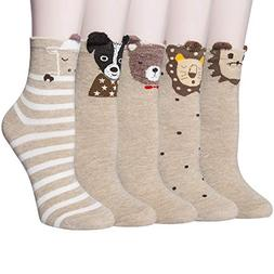 4-5 Pairs Womens Warm Thick Knited Casual Cotton Crew Socks,