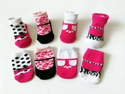 4 Pack NEW BORN Girl Infant Socks 0-6 Month Leopard Dots Pat